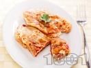 Рецепта Чушки бюрек - панирани пържени печени чушки (пиперки) пълнени със сирене и яйца на тиган